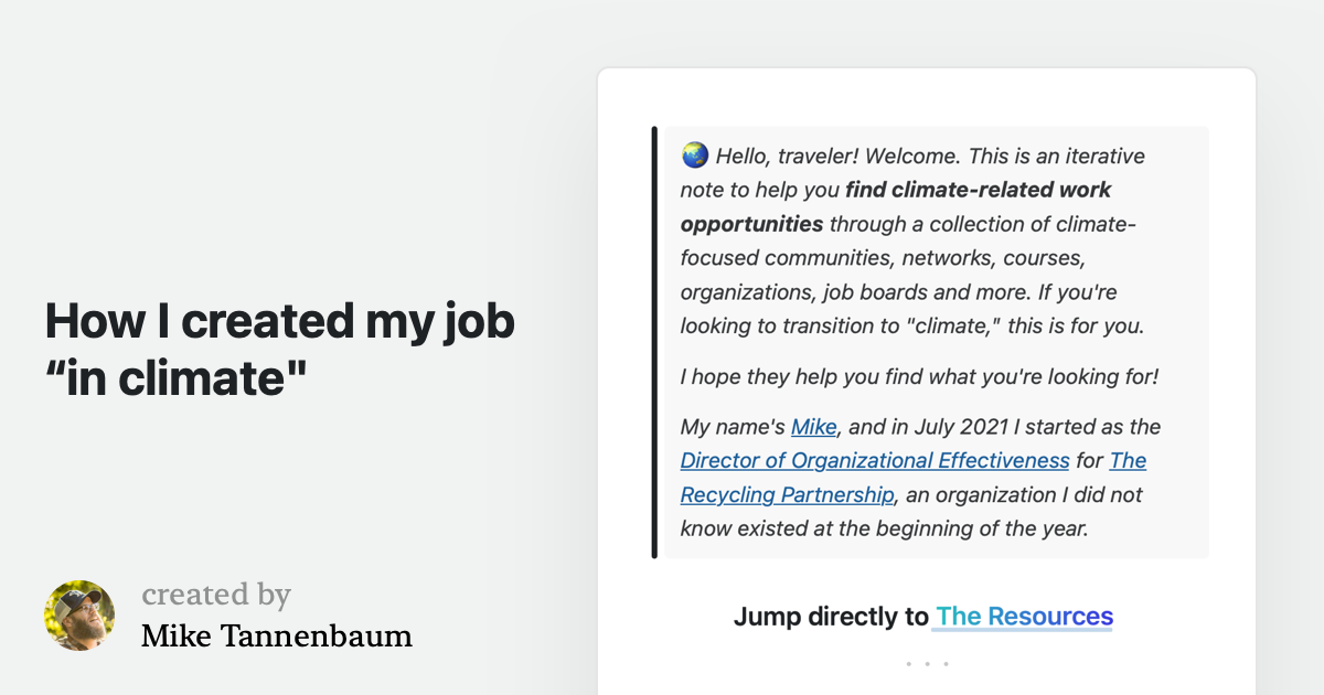 """How I created my job """"in climate"""""""